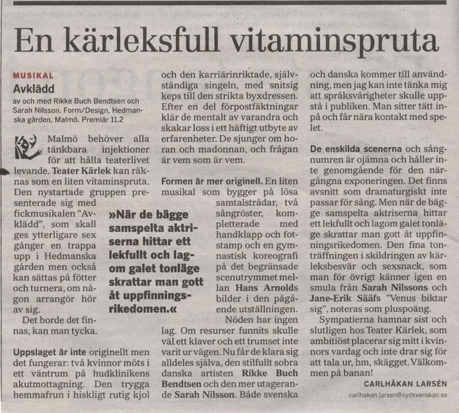 Recension Avklädd Sydsvenska Dagbladet