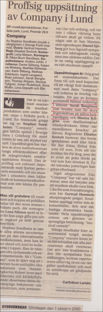 Recension Company Sydsvenska Dagbladet 2000