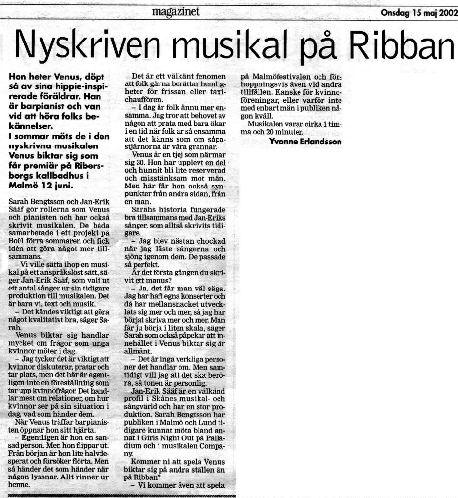 Artikel Venus biktar sig Skånska Dagbladet